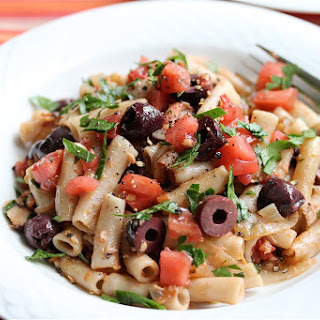 Tuna Pasta with Olives & Tomatoes