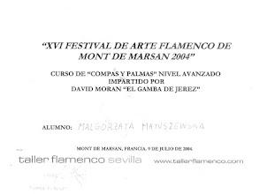"Photo: 2004r. intensywny kurs rytmu i palmas; poziom zaawansowany; prof. David Moran ""El Gamba de Jerez"" XX Festival de Arte Flamenco Mont de Marsan"