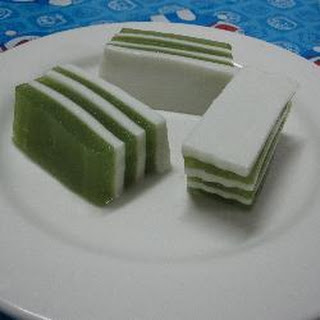 Layered Pandan And Coconut Jelly.