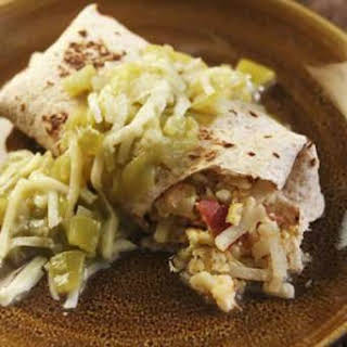Smothered Green Chile Breakfast Burritos.