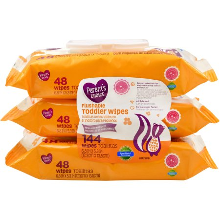 Parents Choice Flushable Toddler Wipes, 144 count