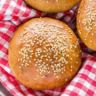 Homemade Whole Wheat Hamburger Buns.