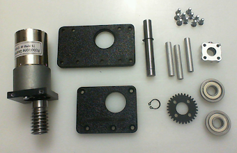 Photo: These are the components of a regular Worm Gear Drive that you can get from ServoCity (de-constructed)