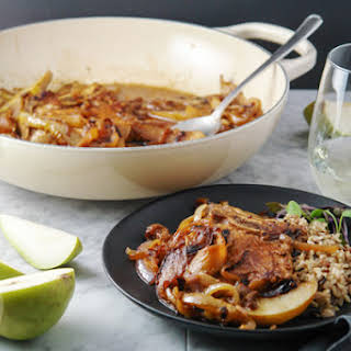 Easy Weeknight Pork Chops, Caramelized Onions and Pears.