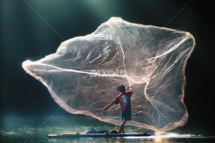BIG Catcher by Suloara Allokendek - People Body Art/Tattoos ( water, catch, lake, fisherman, net, man )