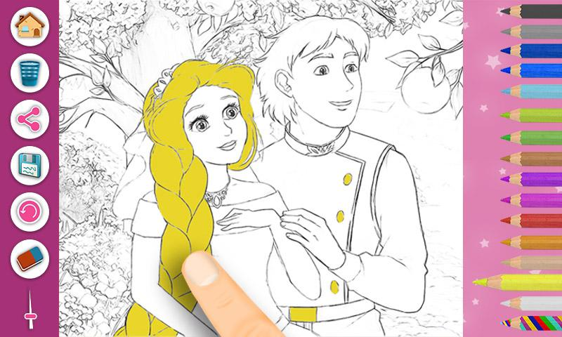Rapunzel Coloring Book Pages Screenshot