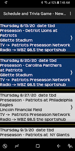 Schedule Trivia Game for New England Patriots Fans 134 screenshots 5