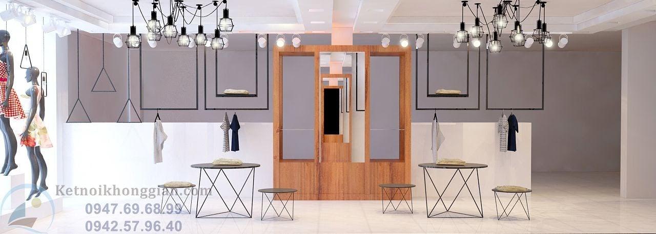 thiết kế shop thời trang với nội thất sáng tạo
