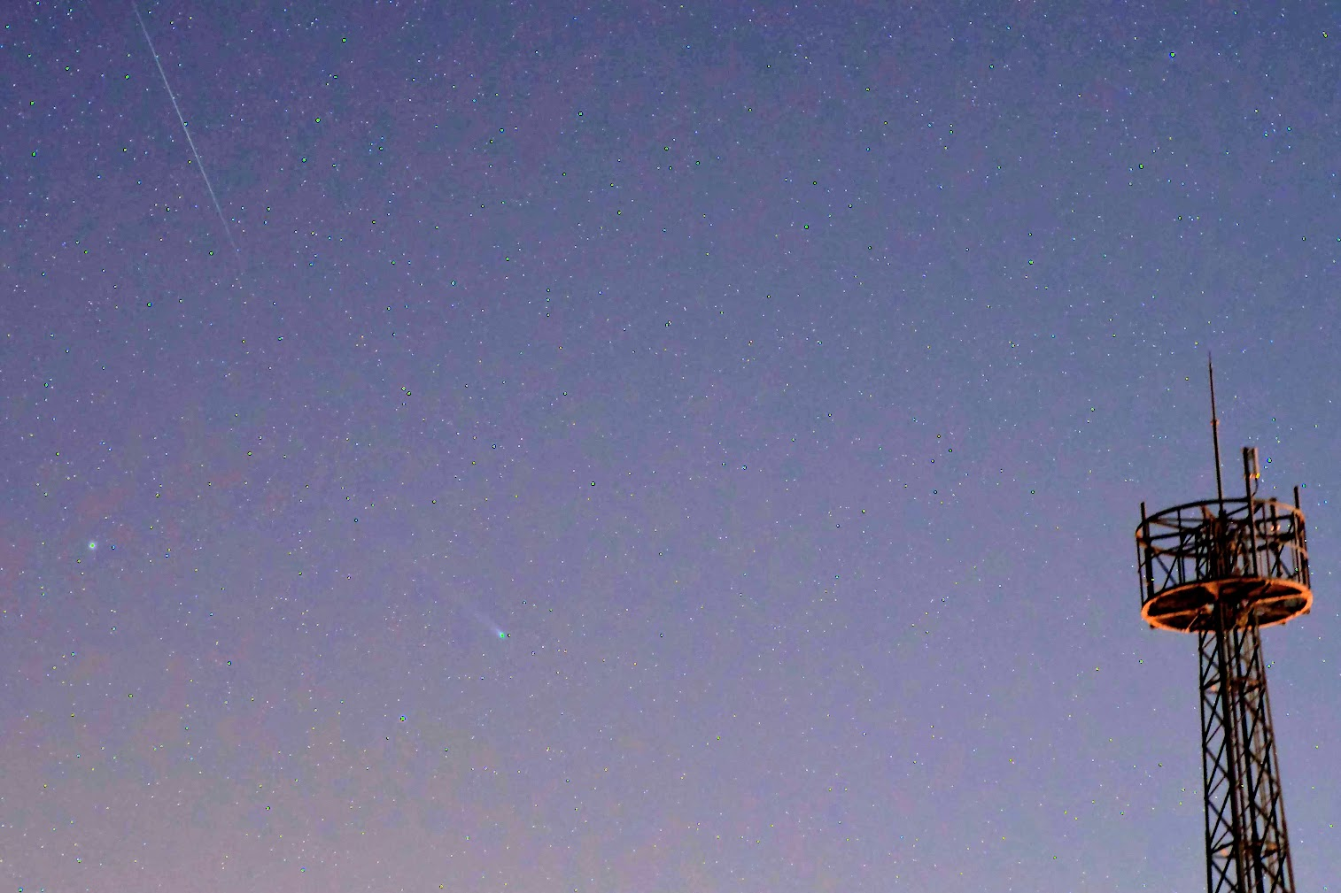 Comet Lovejoy (C/2013 R1) and A Geminid Meteor - Cropped Version