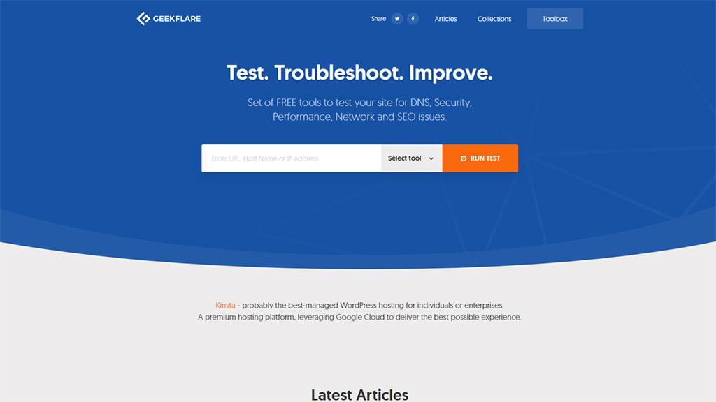 teste de velocidade de site com a ferramenta Geek Flare