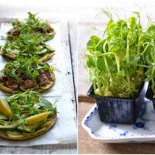 Pita Pizza with potato covered crust & crunchy pea sprouts