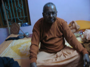 "Photo: Swami Sri Ramanandaji Maharaj, Head of Bharat Sevashram Sangha on Rashbehari Avenue, Kolkata and a direct associate of Swami SriSri Pranavanandaji Maharaj, in ""Sadhu Nibas"", 3rd Floor at Bajitpur Pranav Math on February 5, 2009 (the before Maghi Purnima 1415)"