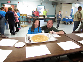 Photo: Kylee and Chris with her Giant Pancake that Chris made for her at the Pancake Breakfast!