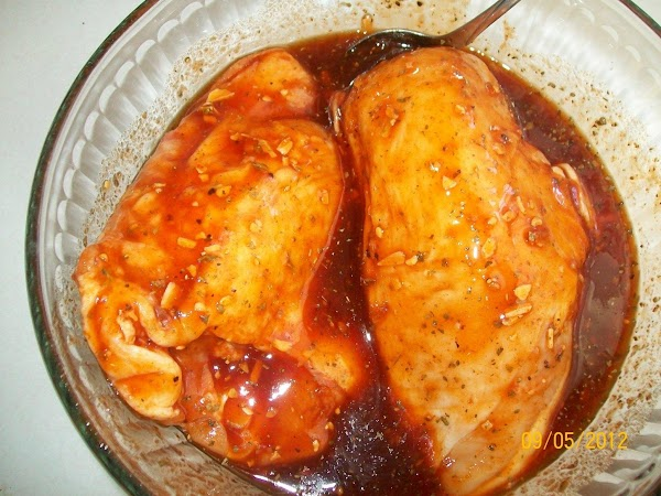 Add the chicken breasts, to ½ of the marinade & cover and refrigerate for...