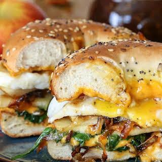 Pear Apple Cheddar Caramelized Onion Grilled Cheese Bagel Sandwich.