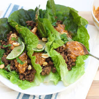 Gluten Free Asian Beef Lettuce Wraps.