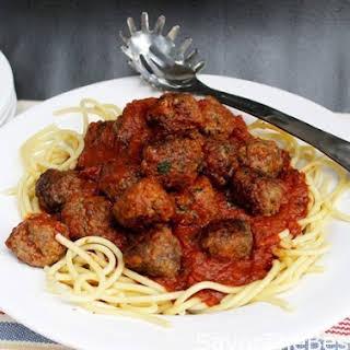 Italian Meatballs and Spaghetti with Tomato-Garlic Sauce.
