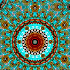 Turquoise Ruffle Button Mandala by Robin Amaral - Illustration Abstract & Patterns ( southwest, harmony, caribbean, mandala, meditation, tranquility, turquoise, digital art )