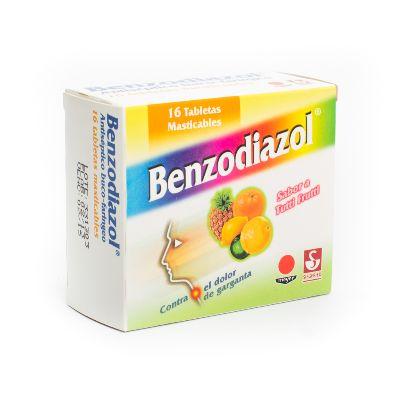 Dequalinio + Lidocaina Benzodiazol Tutti-Frutti 0,25/5Mg X16 Tabletas Meyer