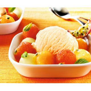 Frisse meloensalsasalade met Slagroomijs