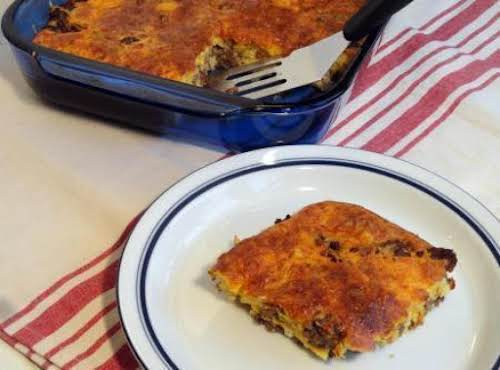 """Mom's Impossible Cheeseburger Pie """"Everyone loved it and went back for seconds!..."""
