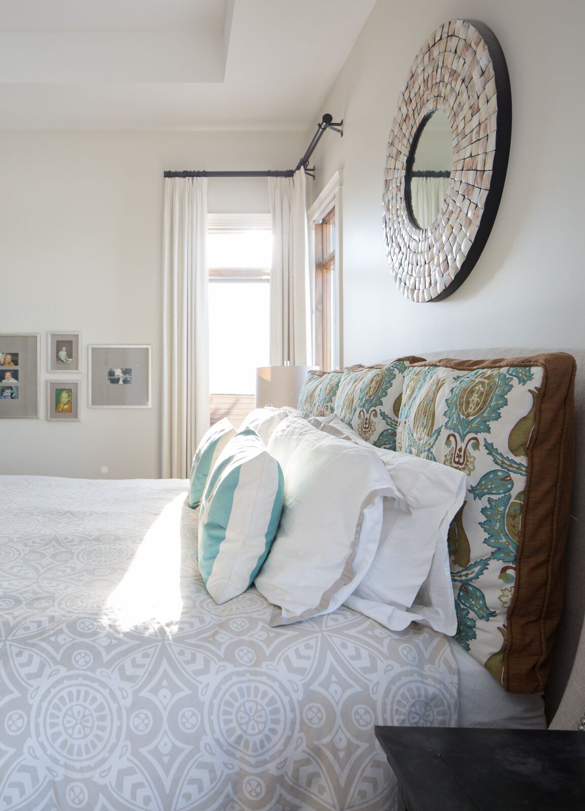 classic fresh bedroom teal, beige, white, brown, tile mosaic mirror white drapery Calgary interior design studio LeAnne Bunnell