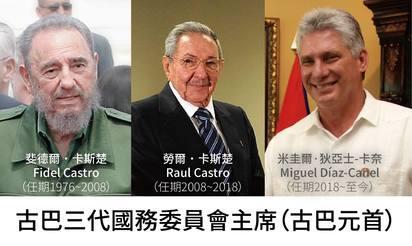 古巴42年首修憲 元首限連任一次、刪婚姻定義 | 古巴三代領導人,預計2021年勞爾˙卡斯楚交出古巴共產黨領導人大位後,將結束卡斯楚氏在古巴的統治。(製作/羅紹齊)