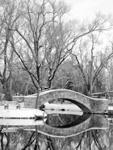 Photo: Black ans white photo of trees and a stone bridge reflected in a winter lake at Eastwood Park in Dayton, Ohio.