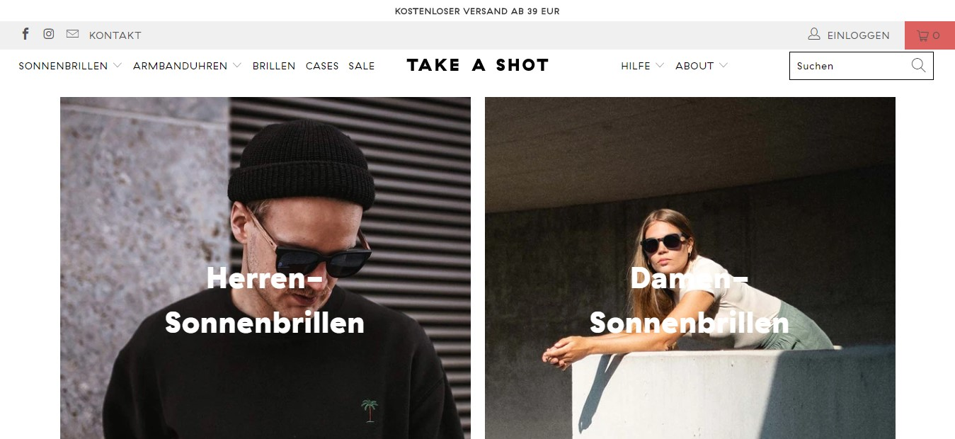 Take a Shot's landing page - two photos of a man and a woman with sunglasses