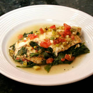 Baked Tilapia and Spinach.