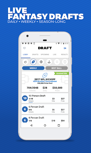 DRAFT: Daily & Season Long Fantasy Sports Drafts Screenshot