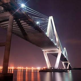 Arthur Ravenel Bridge  by Cathie Crow - Buildings & Architecture Bridges & Suspended Structures ( night photo, charleston, charleston sc, night photography, long exposure photography, ravenel bridge, bridge, bridges )