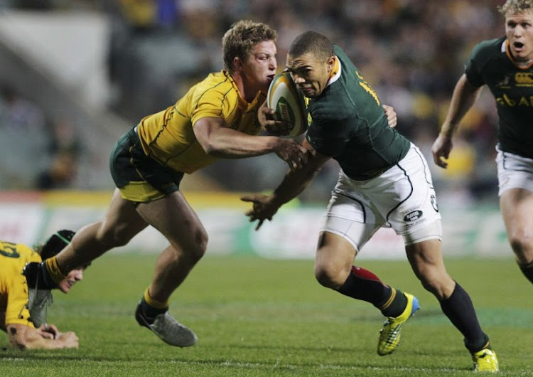 The Wallabies' Michael Hooper, left. Picture: REUTERS