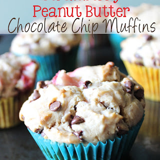 Strawberry Peanut Butter Chocolate Chip Muffins.