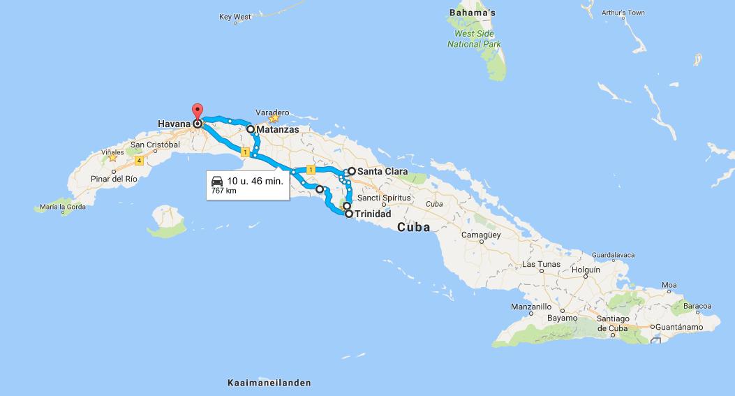 route-centraal-cuba