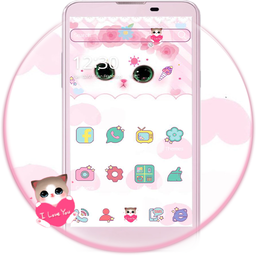 Cute Kitty theme – pink rose kitty