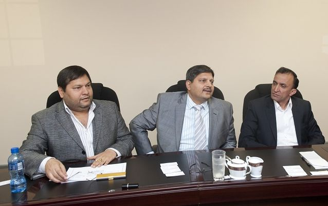 Ajay Gupta, Atul Gupta and Oakbay MD Jagdish Parekh. Picture: MARTIN RHODES