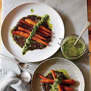 Whole Roasted Carrots with Black Lentils and Green Harissa