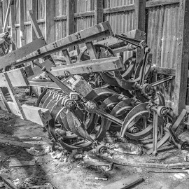 Broken Machine Parts by Ella Kingston - Black & White Buildings & Architecture ( decaying, abandoned building, workshop, broken machine, black and white, warehouse, machinery,  )
