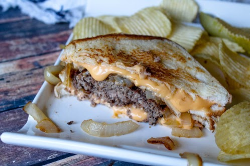 Grilled Grilled Cheese Burgers With Sauteed Onions