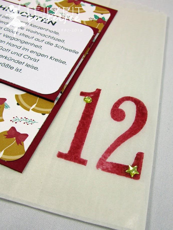 Stampin' Up! – December Inkspirations, Weihnachten, Christmas, Adventskalender, Advent Calendar, Pergamin-Geschenktüten, Glassine Gift Bags, Number of Years, So viele Jahre, Lack-Akzente Metallic, Metallic Enamel Shapes, Ausgestochen weihnachtlich, Cookie Cutters, Gorgeous Grunge, Star Framelits,