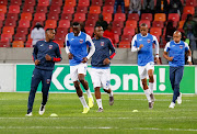 Chippa United warming up during the Nedbank Cup semi final match between Chippa United and Kaizer Chiefs at Nelson Mandela Bay Stadium on April 20, 2019 in Port Elizabeth, South Africa.