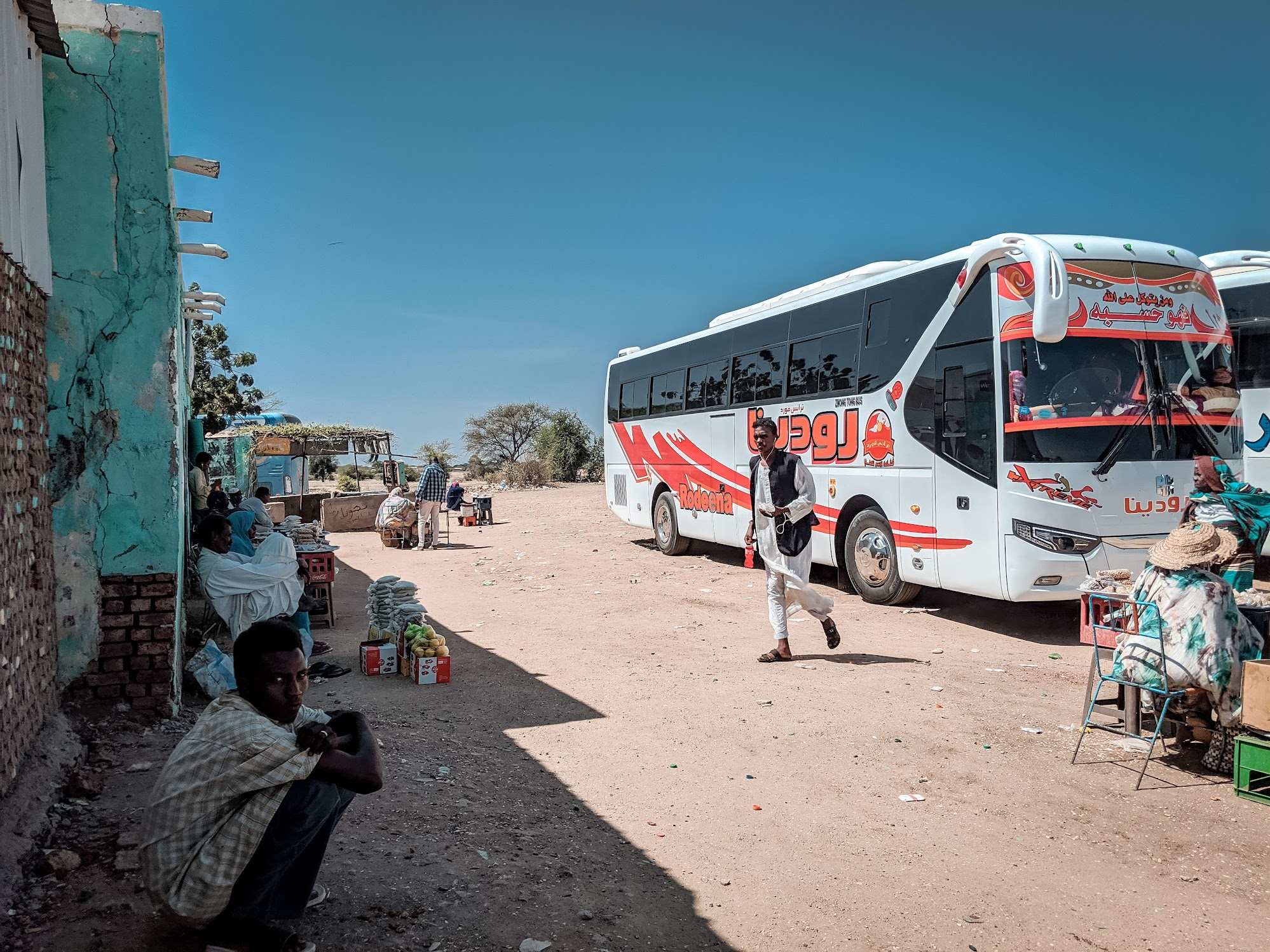 A bus during a rest break in Sudan