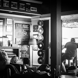 #coffeeshopvibes by Mary Phelps - Black & White Street & Candid ( coffee shop, coffee, black and white, cookeville, live music, canon )