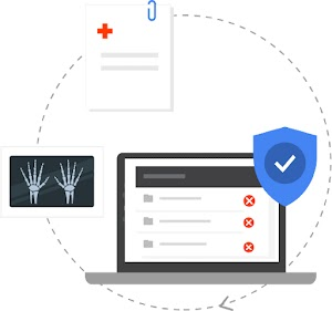 手部 X 光片、病歷和電腦螢幕彼此以虛線圈出的圓圈相連,還有帶勾號的藍色安全性盾牌