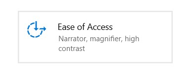 The Ease of Access menu in Windows Settings