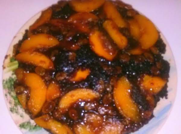 Chocolate Peanut Butter Peach Breakfast Cake Recipe