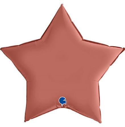 Folieballong Stjärna Satin - rose gold, 91 cm