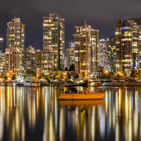 Burrard Inlet  by Cory Bohnenkamp - City,  Street & Park  Night ( water, reflection, boats, buildings, reflections, night, city )