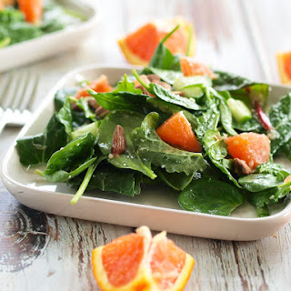 Power Greens Salad with Cara Orange, Almonds, and Parmesan Recipe